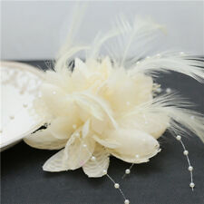 Beige Flower Feather Bead Corsage Hair Clips Fascinator Hairband Pin brooch