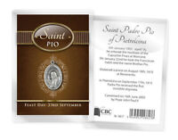 ST PADRE PIO MEDAL AND BIOGRAPHY CARD IN A PLASTIC KEEPSAKE WALLET OTHERS LISTED