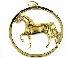 Fine Horse Circle Pendant in 14k Solid Yellow Gold 1.5 in x 1.25 in
