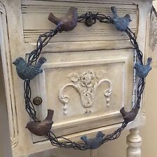 Shabby Chic Metal Wreath BIRDS Vintage French Country Style Door Wall Decoration