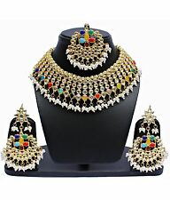 Ethnic Indian Gold Plated Kundan & Pearl Flexible Choker Partywear Necklace Set