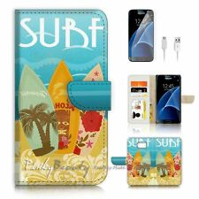 Samsung Galaxy S7 Flip Wallet Case Cover P1589 Surf