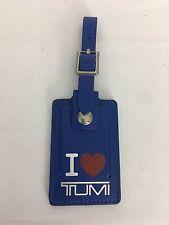 """New Blue I Love """"Heart"""" Tumi Leather Luggage ID Tag"""