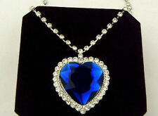 Blue Sapphire & Crystal Large Heart Ocean Necklace Titanic Size Prom Bride