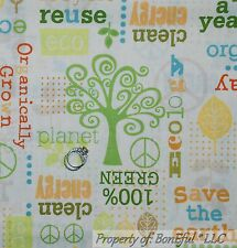 BonEful Fabric FQ Cotton Quilt Organic L Tree Green Earth Recycle Scout Girl Boy