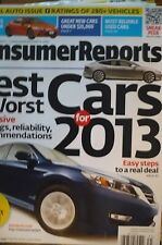 """CONSUMER REPORTS"" Magazine - Best & Worst New Cars for 2013 - Veh Ratings"