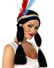 Indian Princess Fancy Dress Wig with Headband & Feathers New by Smiffys