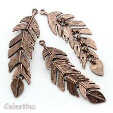 2 Antique Copper Feather Charms Jointed Leaf Pendants 62mm x 17mm Large Leaves