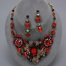 Elegant Chunky Garnet Red Bridal Pageant Evening Party Statement Necklace Set