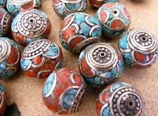 tibetische Koralle Türkis Perlen Tibet Nepal Turquoise Coral brass Beads No:B
