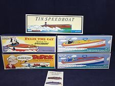 SCHYLLING COLLECTOR SERIES SPEEDBOATS FULL SET OF TIN VINTAGE TOY POPEYE FELIX