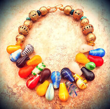 Mali Wedding Beads Africa Trade Jewelry Rainbow Glass Turquoise Necklace Antique