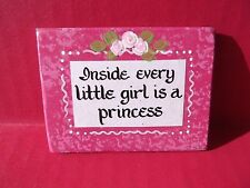 """Kitchen Magnet Plastic Plaque Inside Every Little Girl is a Princess 3""""in x 2""""in"""