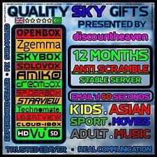 ⚫⚫⚫⚫ 12 Months Full Gift For Openbox V8 S F5 F3 Zgemma Skybox VU Solo2, Duo ⚫⚫⚫⚫