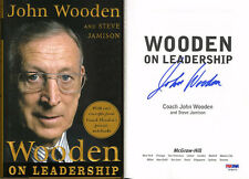 Coach John Wooden SIGNED Wooden on Leadership HC 1st Ed PSA/DNA AUTOGRAPHED UCLA