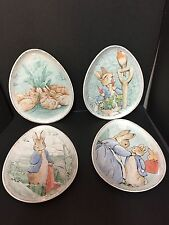 4 Pottery Barn Kids EASTER Beatrix Potter EGG SHAPED PLATE Peter Rabbit Table NW