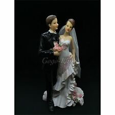 Cute Wedding Couple Cake Topper Groom and Bride Couple  Cake Topper 9""