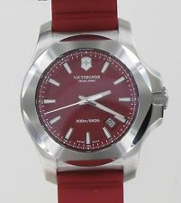 Mens Victorinox Swiss Army Red Dial INOX Red Rubber Strap Watch 24179.1