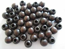 "Lot of 48 Walnut Wood Round Macrame Plant Hanger Wooden Craft Beads 7/8"" 22mm"