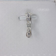Solid Sterling Silver CZ Pinch Clasp Pendant Bail Connector 1PC #33487