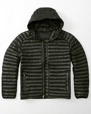 Abercrombie & Fitch Ultra Lightweight Hooded Down Puffer Jacket M Medium BLACK