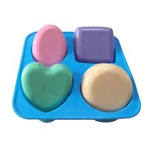 4 Cavity Round Square Oval Heart Shape Soap Silicone Mold Cake Muffin Cups Mold