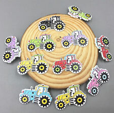 20X Cartoon car Wooden Sewing Buttons Mixed-color decoration scrapbooking 32mm