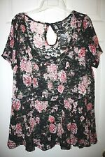"""Torrid"""" Short Sleeve Babydoll Top~Floral Lace~Black/Red/White~2~NWT"""