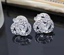 Earrings 9ct White Gold Filled Diamond Cluster Knot Studs Gift Idea