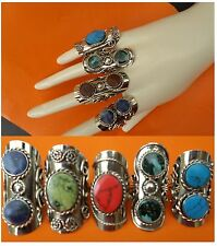 SALE LOT 25 BIG RINGS TWO SEMI PRECIOUS STONE PERUVIAN JEWELRY - Adjustable