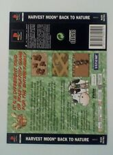 *BACK INLAY ONLY* Harvest Moon Back To Nature Back Inlay  PS1 PSOne Playstation