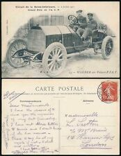 MOTOR CAR RACING 1907 GRAND PRIX FIAT PPC...MOBILE BOX POSTMARK 1908