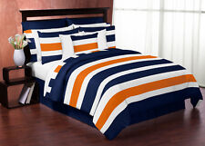 Jojo Modern Navy Blue Orange and White Queen Size Comforter Set Bedding Ensemble