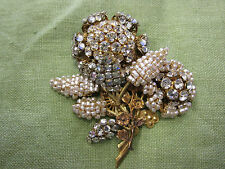 VERY BEST Antique Signed MIRIAM HASKELL Pearl & Rhinestone Floral Brooch
