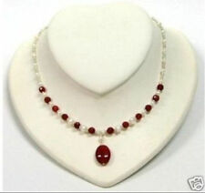 REAL Women's white pearl Ruby pendant necklace 18""