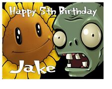 "PLANTS VS.ZOMBIES BIRTHDAY Personalised A4 Icing Sheet 10""x8"" Cake Topper"
