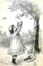 Thomas Nast Victorian Girl Child PICKING CHERRIES 1882  Antique Art Print Matted