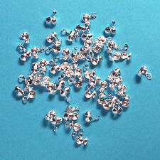 50 small silver plated side-fold calottes/necklace ends, jewellery findings