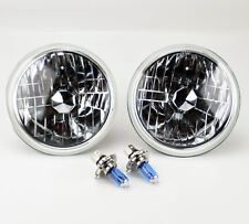 "7"" Round Halogen Semi Sealed H4 Crystal Clear Headlight Conversion w/ Blue Bulbs"