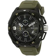 BRAND NEW DIESEL DZ4396 HEAVYWEIGHT GREEN RUBBER BLACK CHRONOGRAPH MEN'S WATCH