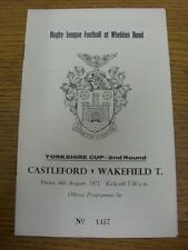 06/08/1971 Rugby League Programme: Castleford v Wakefield Trinity [Yorkshire Cup