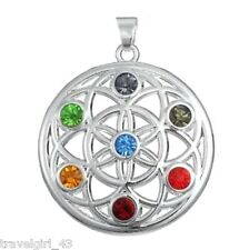 Silver Plated Chakra Stones Pendant Seed of Life Lotus Flower Healing Buddhist