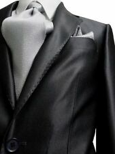 G. FIORELLI 2B MENS SUIT SHINY SOLID CHARCOAL SHARKSKIN 40L 40 L FREE SHIP & TIE