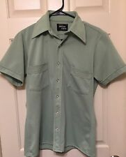 Vtg 70s ARROW CARLTON CREPE Button Up Shirt Mint Green W/ Rainbow Stitching Sz S