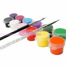 12 Colors Painting Pigment For Nail Art Acrylic UV Gel Tips 2 Brush Pens Set