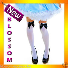 9095-1 Opaque White Thigh Highs Alice in Wonderland Stockings With Black Bow
