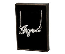 """Name Necklace """"IQRA"""" - 18ct White Gold Plated - Swarovski Element - Gift For Her"""
