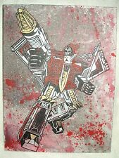 Canvas Painting Transformers Dinobot Swoop Grey Spatter Art 16x12 inch Acrylic