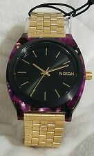 NIXON The Time Teller Acetate Purple Bezel and Gold Stainless Steel A3272483 NEW