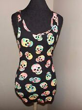 new black No Boundaries neon tie dye skull ribbed tank top lg 11/13 stretch
